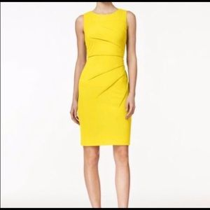 Calvin Klein Yellow Sunburst Midi Dress